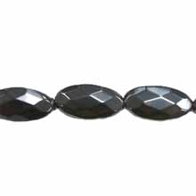 HEMATITE FACETED FLAT OVAL 10X20MM