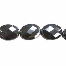 HEMATITE FACETED FLAT OVAL 15X20MM