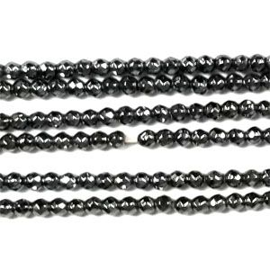 HEMATITE 02MM FACETED ROUND