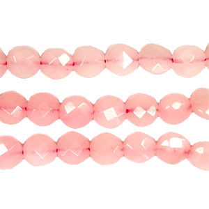 DYED JADE FACETED DISC 08MM PINK