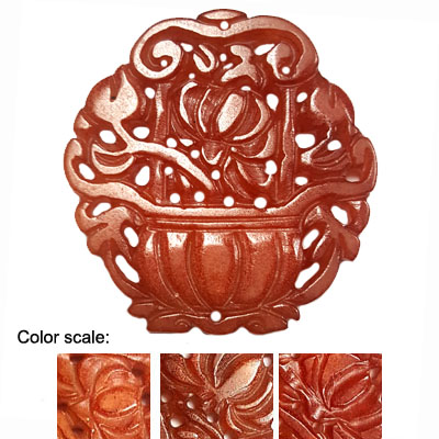 HSIU JADE  BASKET 56X58MM RED PENDANT