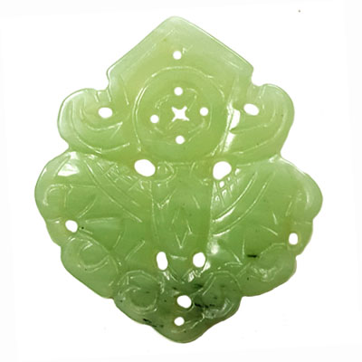 HSIU JADE BUTTERFLY WITH MONEY 54X62MM GREEN PENDANT