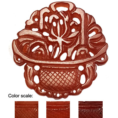 HSIU JADE BASKET 53X55MM RED PENDANT