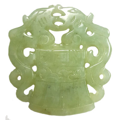 HSIU JADE COUPLE DRAGONS ON TRIPOD 50X54MM GREEN PENDANT