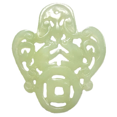 HSIU JADE COUPLE RATS ON MONEY 50X58MM GREEN PENDANT