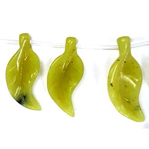 OLIVE JADE 3D LEAF 15X34MM