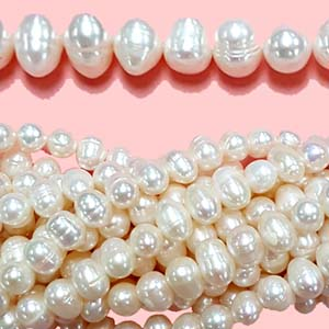 FRESHWATER PEARL POTATO 09.5-10MM WHITE