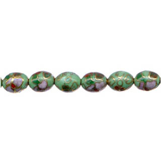 CLOISONNE RICE 7X10MM GREEN