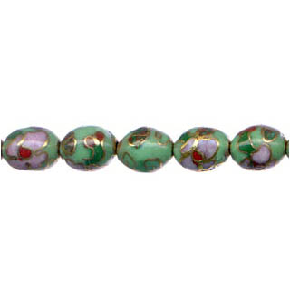 CLOISONNE RICE 9X11MM GREEN