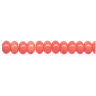 ROUNDEL 6MM DYED PINK CORAL