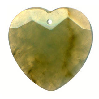 FACETED HEART 35MM OLIVE JADE