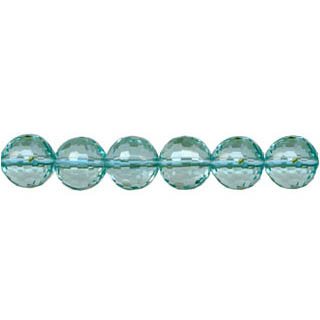 AQUAMARINE QUARTZ FACETED ROUND 08MM