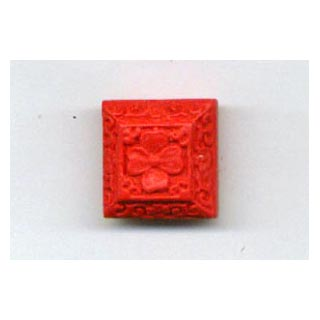 CINNABAR SQUARE 20X20MM RED