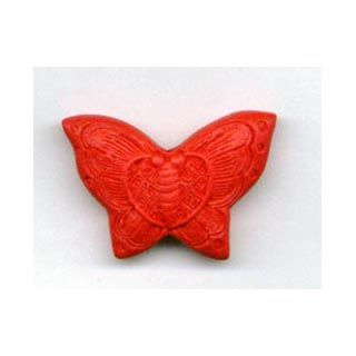 CINNABAR BUTTERFLY 13X18MM RED