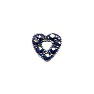 MARCASITE HEART 6MM SIDE DRILL