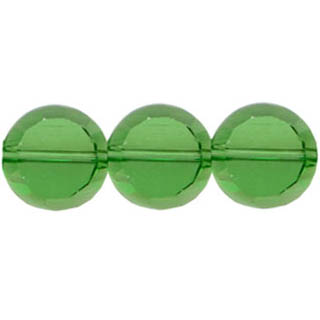GLASS FACETED DISC 8MM GREEN