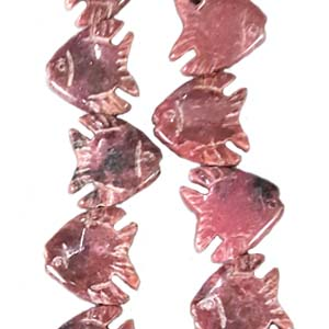 RHODONITE FISH 20X20MM