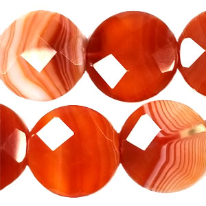 STRIPE RED AGATE FACETED DISC 25MM