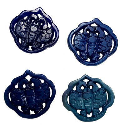 JADE SMALL PENDANT BUTTERFLY 28X30MM BLUE (4 PCS)