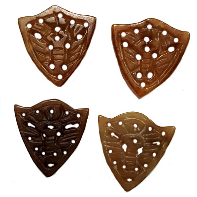 JADE SMALL PENDANT BUTTERFLY 30X32MM brown(4 PCS)