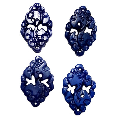 JADE SMALL PENDANT COUPLE BATS 23X36MM BLUE (4 PCS)