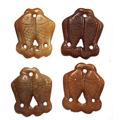 JADE SMALL PENDANT COUPLE FISH 23X28MM BROWN (4 PCS)
