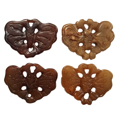 JADE SMALL PENDANT BUTTERFLY 23X30MM BROWN (4 PCS)