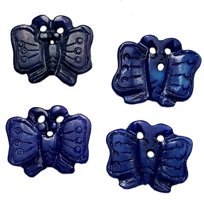 JADE SMALL PENDANT BUTTERFLY 22X25MM BLUE (4 PCS)