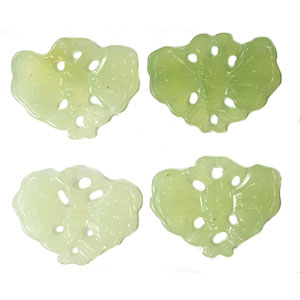 JADE SMALL PENDANT BUTTERFLY 24X30MM GREEN(4 PCS)