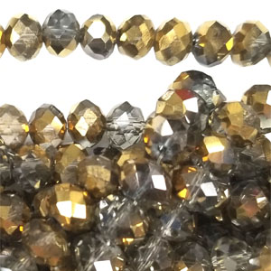 12MM FACETED RONDELLE SMOKY / GOLD