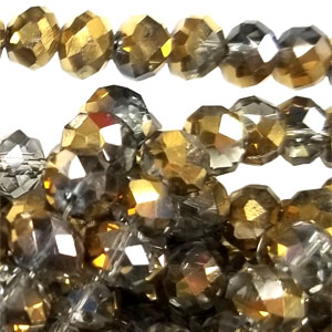 14MM FACETED RONDELLE SMOKY / GOLD