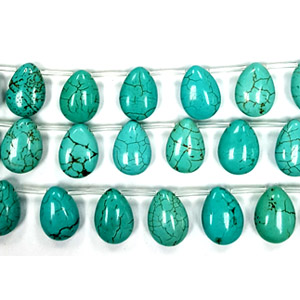 STABLIZED TURQUOISE PEAR 10X14MM SIDE DRILL