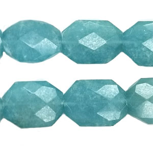 STABILIZED AQUAMARINE FACETED FREEFORM 22X30MM