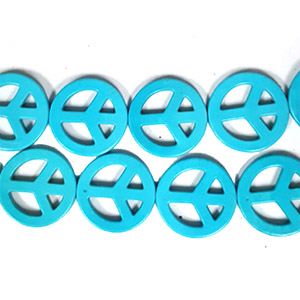SYNTHETIC TURQUOISE PEACE HOLLOW  32MM