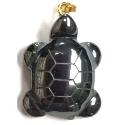 HEMATITE TURTLE 21x32mm GOLD PENDANT (4 PCS)