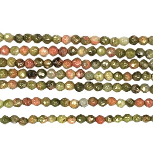 UNAKITE 02MM FACETED ROUND