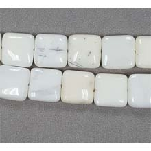 WHITE OPAL FLAT SQUARE 15MM